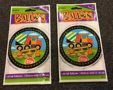 "(2) 18"" Helium Balloon Construction Zone Cement Mixer Vehicle Balloons"