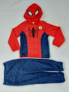 Boys Marvel Spider-man Fleece Hooded Pyjama kids PJ Nightwear Set  Age 4-9 Years