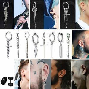 Men Punk Korean Tassel Cross Earrings Stud Piercing Stainless Steel Doulbe Ring