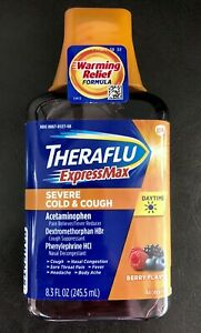 theraflu Express Max Severe Cold Cough Berry Flavor Warming Relief Virus 8.3 OZ