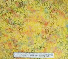 Patchwork Quilting Sewing Fabric GOLD GREEN SWIRLS BATIK Cotton Material 50x5...