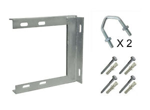 """9"""" x 9"""" Wall Bracket Steel Satellite TV Aerial Radio with fixings 6.5"""" stand off"""