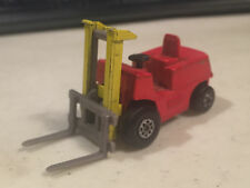 MATCHBOX #114 FORK LIFT TRUCK MARKED LESNEY ENGLAND RED AND YELLOW W/GRAY FORKS