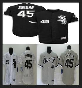 Men's Chicago White Sox #45 Michael Jordan Cool Base Jersey White / Black / Gray