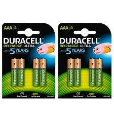 8 Pack Duracell AAA HR03 Rechargeable Batteries Duralock Pre Stay Charged 850mAh