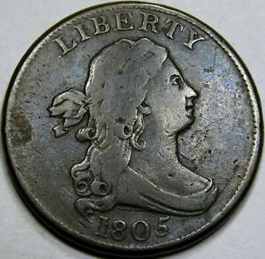 1805 Draped Bust Half Cent Choice VF+... Lg. 5, Choice and Original..Nice!