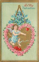 Valentine~Blue Gossamer Cupid In Pink Rose Heart~Draws Bow~Arrow Ready~Gold EMB
