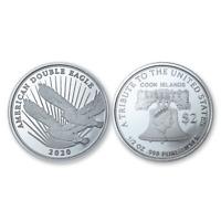 NEW 2020 1/2oz Cook Islands Double Eagle .999 Pure Fine Silver $2 coin COA