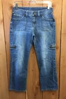 SIMPLY VERA WANG STRAIGHT LEG WOMENS CROPPED CARGO JEANS SIZE 4