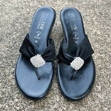 "Italian Shoemakers Black ""Thong Flip Flops"" Heels Wedge ~ Made in Italy Sz 10"