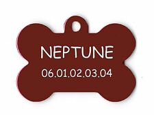 medaille gravee chien ou chat - modele grand os neptune - rouge
