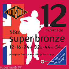 Rotosound SB12 Phosphor Bronze Contact Core Acoustic Guitar Strings Medium Light