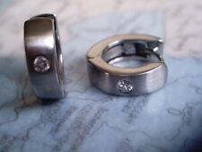Klappcreole Edelstahl 16 x 5 mm matt mit Stein, Singelcreole Stahl mit Zirkonia