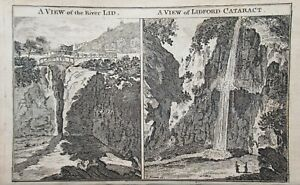 A View of The River Lid and view of Lidford Cataract Dartmoor Antique Print 1759