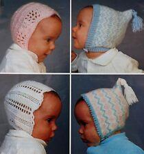 Vintage Knitting Pattern 4 Styles Baby Bonnet 4 Ply & DK 0-4 Months  S3315