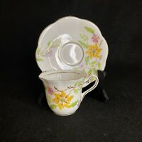 Vintage Taylor and Kent Demitasse Cup and Saucer Scalloped Yellow Flowers