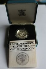 Royal Mint Sterling Silver Proof ONE POUND £1 COIN 1984 Boxed + COA