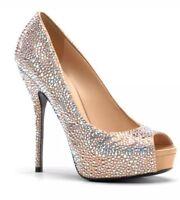 Gucci Sofia Etoile High Heel Platform Metallic Wedding Shoes Sz 39.5 EUR 4116