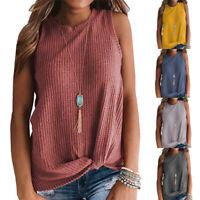 Women's Casual Tank Tops Blouse Sleeveless Cute Twist Knot Waffle Knit Shirts