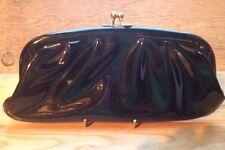 Vintage Black Patent Clutch Handbag/1950's/60's/Retro/Rockabilly/Goth/Red Inside