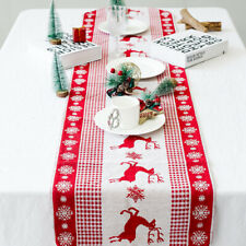Christmas Elk Table Runner Cover Cotton Linen Dining Banquet Home Party Decor