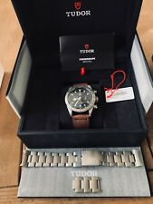 AUTHENTIC NEW TUDOR HERITAGE BLACK BAY CHRONO LEATHER STRAP WATCH M79350-0002