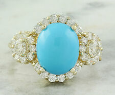 4.12 Carat Natural Turquoise 14K Solid Yellow Gold Diamond Ring