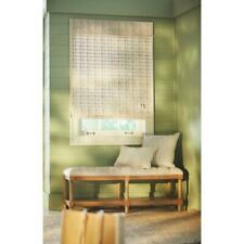 36 in. W x 72 in. L White Washed Reed Weave Bamboo Roman Shade
