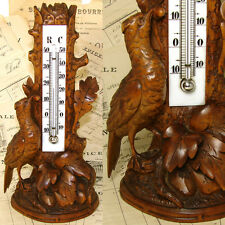 Fine Antique Black Forest Carved Thermometer Stand, Detailed Bird & Foliage
