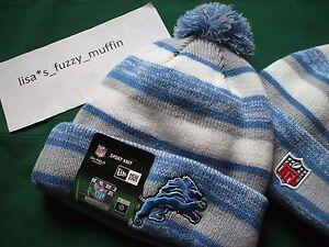 Detroit Lions New Era knit pom hat beanie NEW w/tags RARE NFL OnField AUTHENTIC