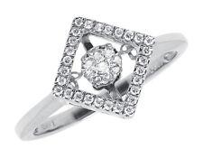 10k Oro Blanco Mujer Conjunto Cuadrado Bailando Anillo de Compromiso Diamante (