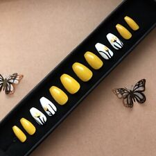 Painted False Nails COFFIN (Or Any Shape) Yellow White Flowers SUMMER