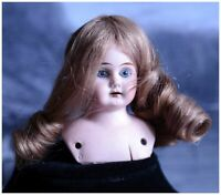 FRENCH ANTIQUE BISQUE PORCELAIN DOLL GIRL 19th REAL LONG HAIR ANCIENT OLD BUST