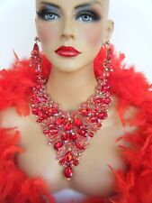 RED AB RHINESTONE CRYSTAL NECKLACE  EARRINGS PAGEANT DRAG QUEEN STAGE BRIDAL