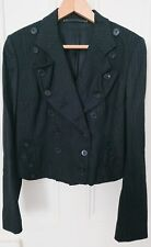 All saints size 12, cropped charcoal grey pinstripe wool jacket