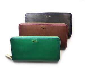 Lauren Ralph Lauren Tate Zip Around Leather Wallet Pick A Color Black Emerald