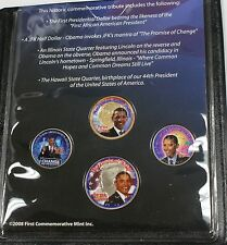 The Obama Change Collection Four Colorized Coins Total Dollar Half Two Quarters