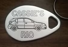 Personalised KIA RIO 5 door Keyring 2006-11 ANY NAME engraved aluminium custom