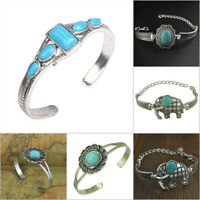 Boho Chic Women Tibetan Silver Green Turquoise Open Bangle Cuff Bracelet Jewelry