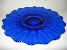 Cobalt Blue glass cake serving Plate / Platter tray pedestal Nicole pattern tray