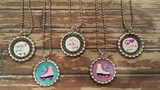 3 Roller Skating inspired Bottle Cap Necklaces Party Favors Gifts