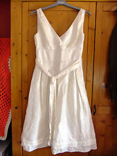 Monsoon Dress With Ribbon Belt Size 8 Silky Satin Effect Shimmery Cream Ivory