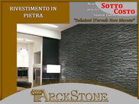ARCKSTONE Rivestimento Piastrella Mattonella Effetto Pietra in Gres Muretto Nero