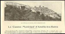66 AMELIE-LES-BAINS CASINO PALALDA GIUDICELLI ARTICLE DE PRESSE 1928