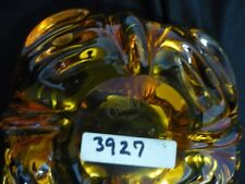 "CHALET SIGNED ""VINTAGE"" HONEY GOLD TO CLEAR ART GLASS PIECE (#3927)"