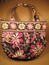 Vera Bradley Purse Handbag Flower Floral Design 2 Outer Pockets Zippered Closure