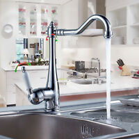 Chrome Hot/Cold Mixer Water Tap Kitchen Bathroom Swivel Wash Basin Sink Faucet