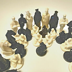 Vintage Military Style Chess For Painting Ussr Soviet Set Gypsum Russian Antique