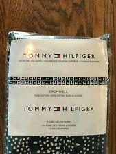New Tommy Hilfiger Cromwell Navy White 100% Cotton Single Euro Pillow Sham (1)