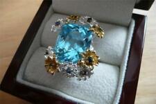 LARGE 27CT SWISS BLUE TOPAZ & SAPPHIRE 925 SILVER GOLD FLOWER RING SZ Q US 8.5
